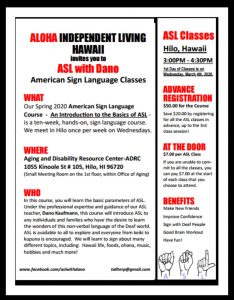 ASL Classes in Hilo (Low-Cost) @ Aloha Independent Living Center